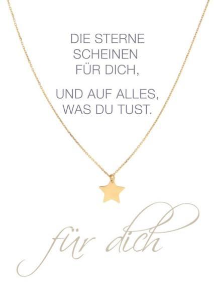 Herz-Karte Kette Stern gold